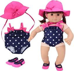 Sophia's 15 Inch Baby Doll Bathing Suit Navy Polka Dot Baby