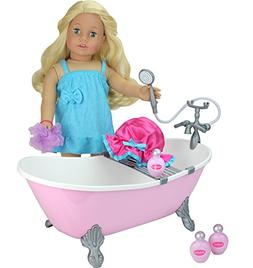 18 Inch Doll Bathtub with Shower, Pink Clawfoot Tub Made by
