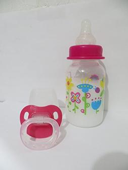 Reborn Doll Bottle 5oz Fake Milk Pink Lid Flower Design + Pa