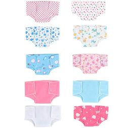 SOTOGO 10 Pack Baby Doll Diapers Baby Doll Underwear for 18'