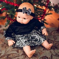 "15"" Baby Doll Elegant Party Dress with Matching Headband Att"