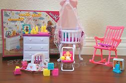 GLORIA DOLL HOUSE FURNITURE Baby Home Nursery Canopy Crib PL