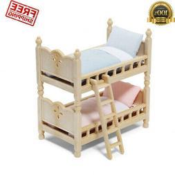 Doll House Play Bunk Beds 2 Mattresses 2 Pillows Decor Baby
