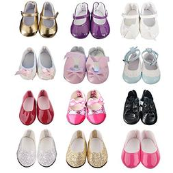 5 pairs of ZWSISU Doll Shoes Include Boots Leather Shoes and