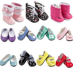 TOYYSB 6 Pairs of Doll Shoes Include Boots Leather Shoes Fit