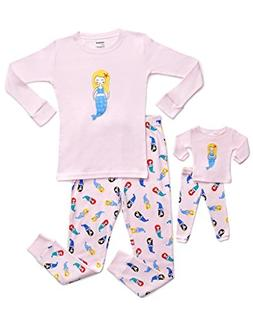 2 Piece Doll & Kid Pajama Mermaid 8 Years, Pink