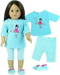 18 Inch Doll Pajamas 3 Pc. Sophia's Set, Fits 18 Inch Americ