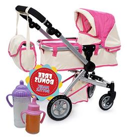Doll Pram stroller with Swiveling Wheels & Adjustable Handle