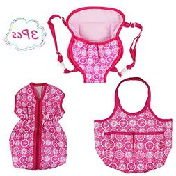 DC-BEAUTIFUL 3 Pack Baby Doll Accessories Set with Handbag a