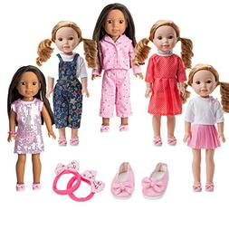 WYHTOYS 5PCS Doll Clothes and Shoes Set for 14 inch 14.5 inc