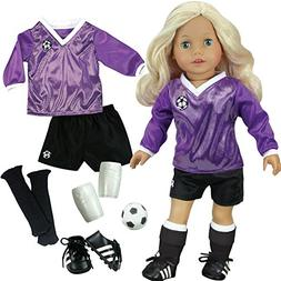 Doll Clothes Soccer Outfit Ball Black Socks Cleats Sport Fit