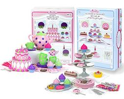 18 Inch Doll Tea Party & Dessert Food Set, Two Complete Doll