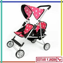DOLL TWIN STROLLER Dolls Carrier Toys Kids Heart THE NEW YOR