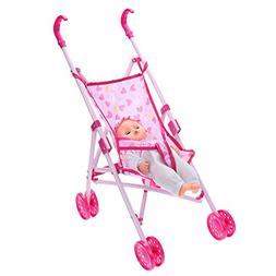 Chinatera Dolls Buggy Stroller Pushchair Pram Foldable Girls