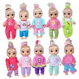 ebuddy Total 10-Sets Doll Clothes Outfits Accessories for fo