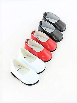 """3 pack of flats: red, white, and black-Fits 18"""" American Gir"""