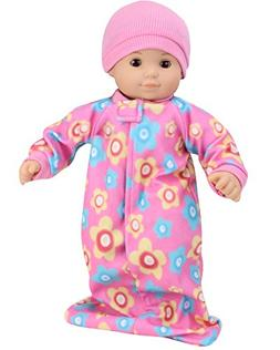 15 Inch Fleece Print Sleeper Sack & Pink Hat fit for Bitty B