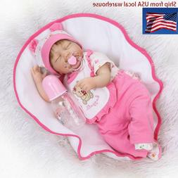 Handmade Realistic Sleeping Dolls Baby Girl Newborn Cloth Bo