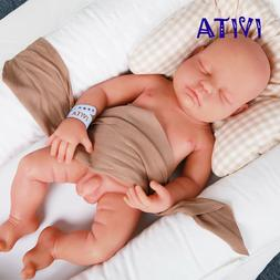 IVITA 18.5'' Full Body Silicone Baby BOY Eyes Closed Sleepin