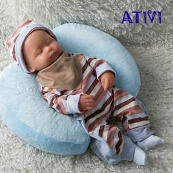 IVITA 38cm Lifelike Eyes Closed Lovely Baby Girl Silicone Re