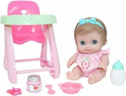 "JC Toys Lil' Cutesies 9.5"" Baby Doll with Highchair & Access"