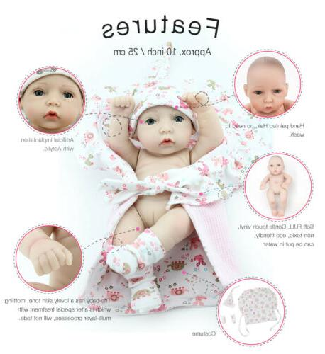 "10"" Full Silicone Girl+Boy Baby Newborn Toys Gift"