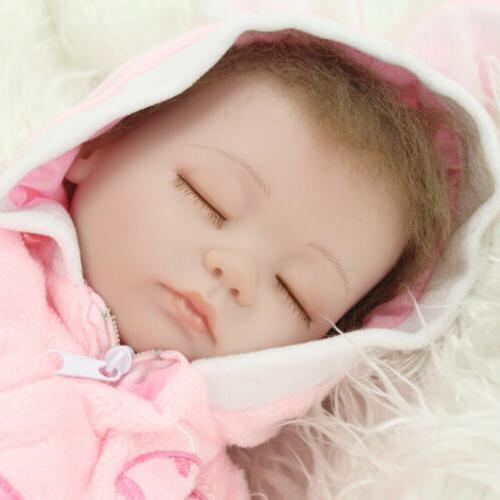 "16"" Reborn Dolls Handmade Newborn Vinyl Silicone Mohair Girl Doll Xmas"