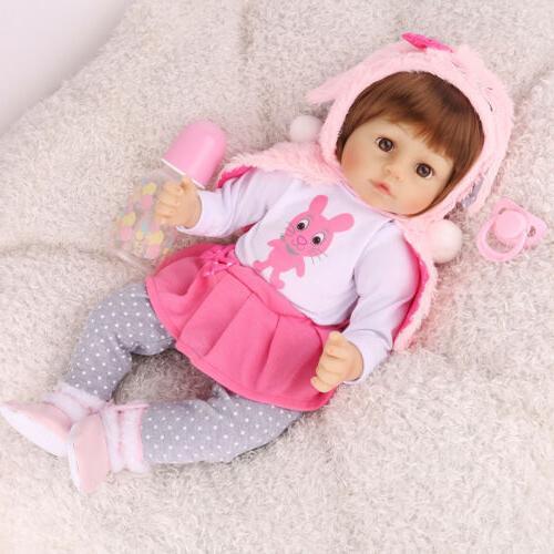 "16"" Reborn Baby Dolls Lifelike Newborn Girls Toddler Silicon"
