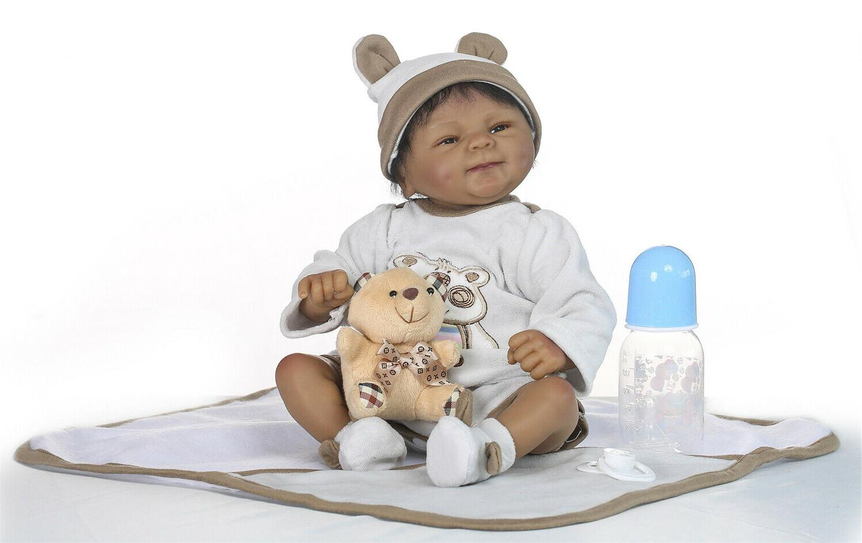 """18"""" Soft African Doll Boy Baby Newborn"""