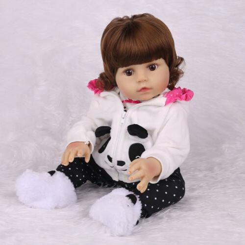 "18""Realistic Reborn Baby Doll Newborn Full Vinyl Silicone Girl Anatomically"