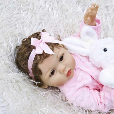 "Waterproof 18"" Reborn Baby Dolls Silicone Girl Doll"