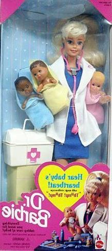NEW 1995 Dr. Doctor Barbie w/ 3 Babies  Pediatrician Mattel