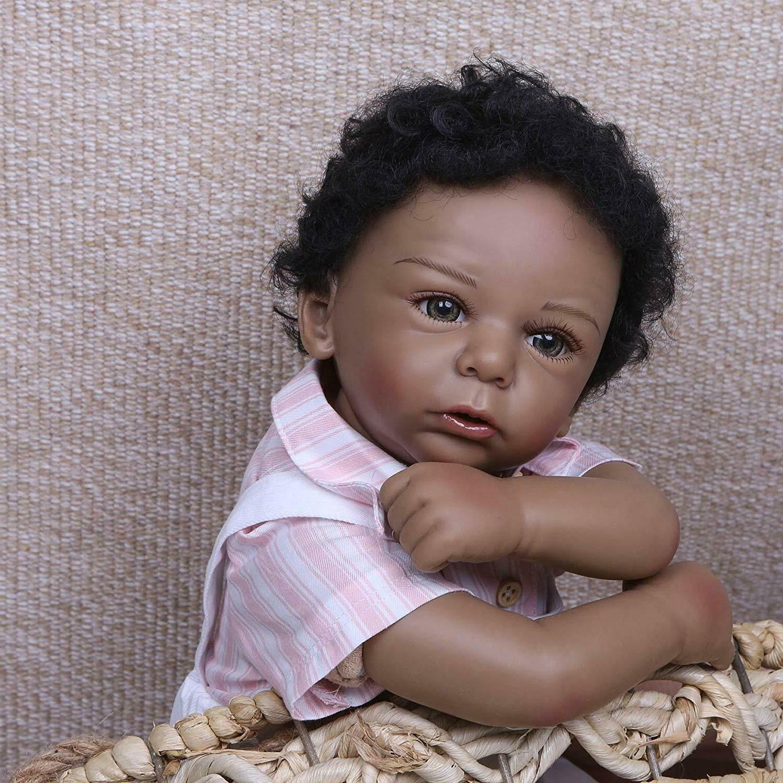 "20"" Biracial Baby Dolls Boy African American Reborn Baby Dol"