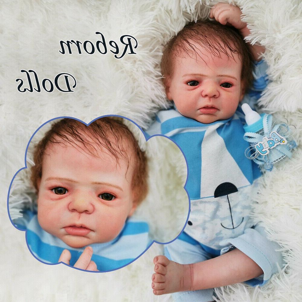"22"" Boy Doll Baby Lifelike Handmade Newborn Reborn Vinyl Sil"