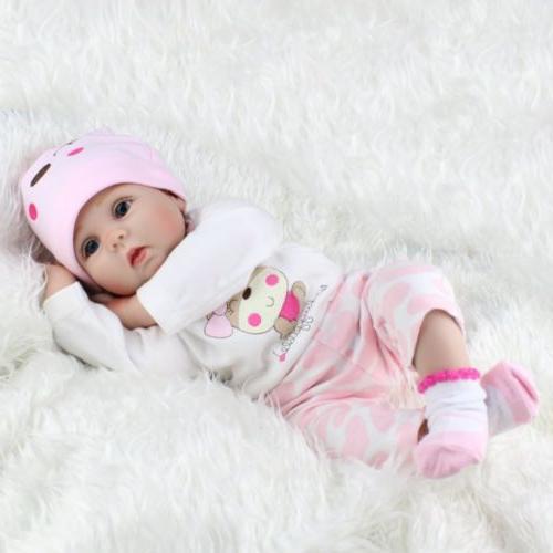 22'' Reborn Baby Dolls Realistic Vinyl Silicone Newborn Girl Gifts