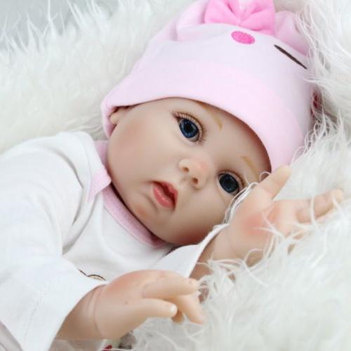 22'' Lifelike Newborn Silicone Vinyl Dolls Handmade Gift