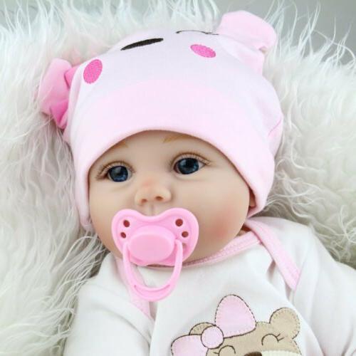 22'' Baby Lifelike Vinyl Silicone Newborn Girl Doll Gifts
