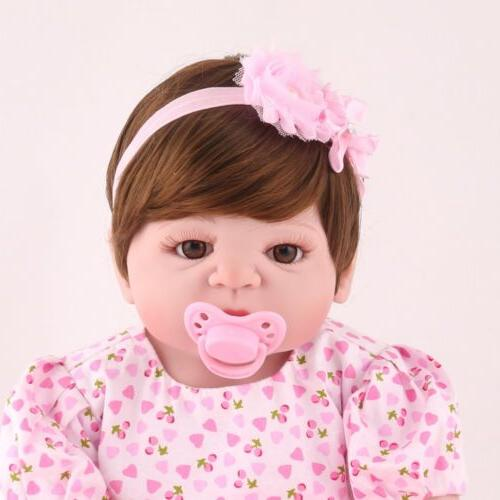 """22"""" Newborn Vinyl Silicone Baby Girl Babies Toy Gifts"""