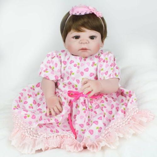 "22"" Newborn Full Vinyl Silicone Baby Girl Lifelike Babies Reborn Dolls Gifts"