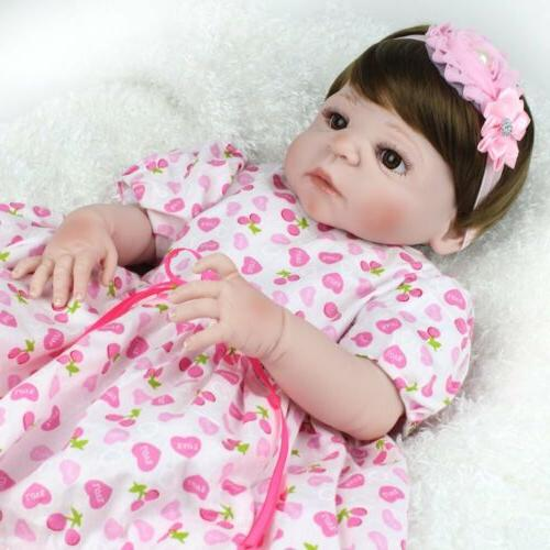 "22"" Silicone Girl Babies Dolls Toy Gifts"