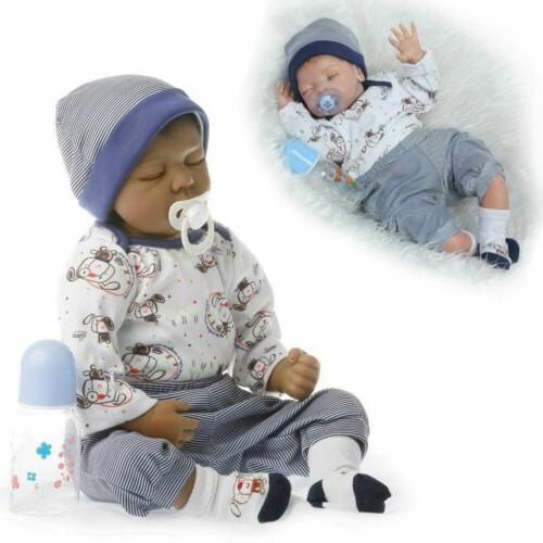 """Black 22"""" Boy Reborn Baby Dolls Lifelike Newborn Soft Silico"""
