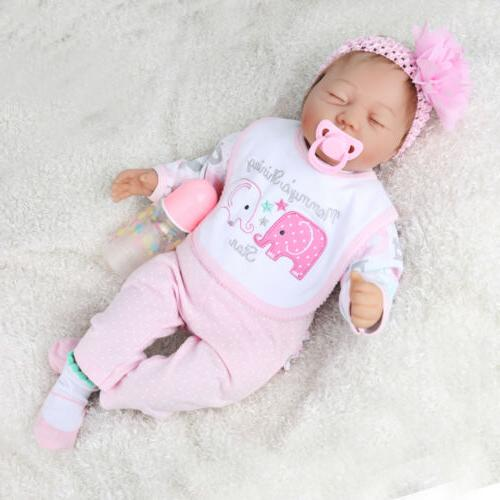 22''Reborn Baby Doll Lifelike Sleeping Handmade Silicone Vin