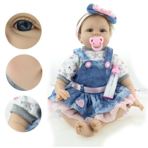 "22"" Lifelike Newborn Vinyl Baby Girl Doll US"