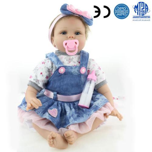 """22"""" Reborn Dolls Lifelike Vinyl Baby Birthday US"""