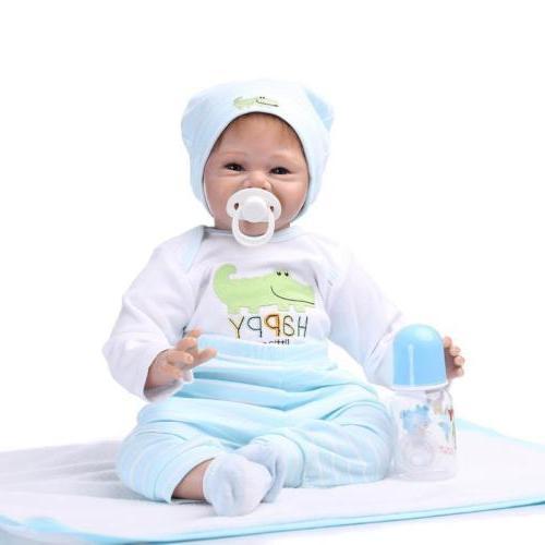 "22"" Realistic Baby Doll Silicone Vinyl Gentle Newborn"