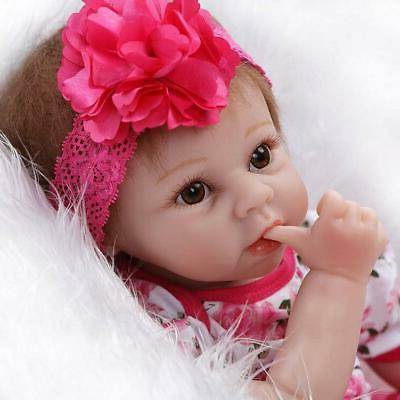"22"" Toddler Reborn Lifelike Baby Girl Doll Silicone Vinyl Re"