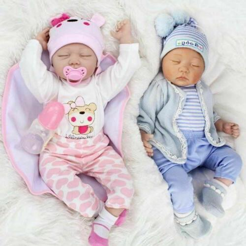 22/' Twins Reborn Baby Dolls Newborn Babies Vinyl Silicone Lifelike Girl+Boy Doll