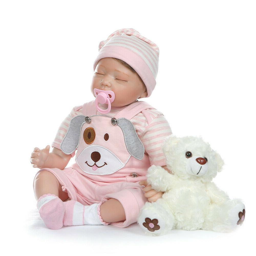 """Weighted Baby Dolls Girl Eyes Closed 22"""" Reborn Toddlers Gir"""