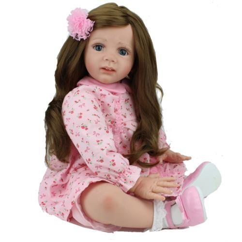 "24"" Toddler Reborn Baby Dolls Handmade Soft Vinyl Silicone B"