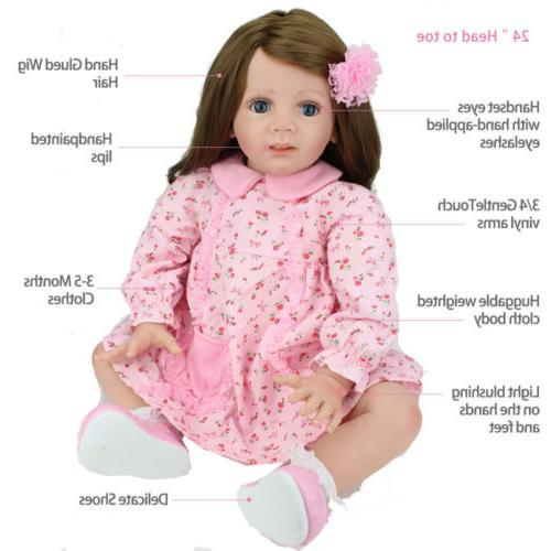 "24"" Toddler Dolls Soft Silicone Baby Doll Gifts"